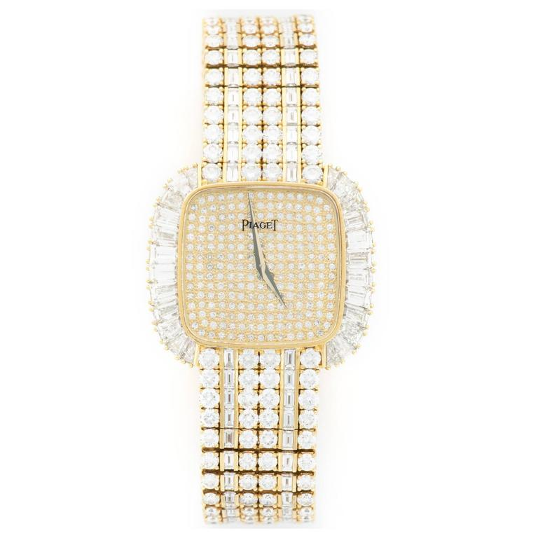 Pia La s Yellow Gold Baguette Diamond Bracelet Wristwatch For