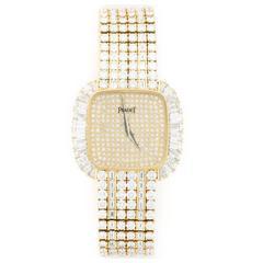 Piaget Ladies Yellow Gold Baguette Diamond Bracelet Wristwatch