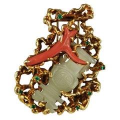 Arthur King Brooch Coral Jade 18 Karat Gold Freeform, circa 1960