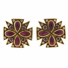 Verdura Rare Iconic Ruby Sapphire Diamond Gold Maltese Cross Earrings
