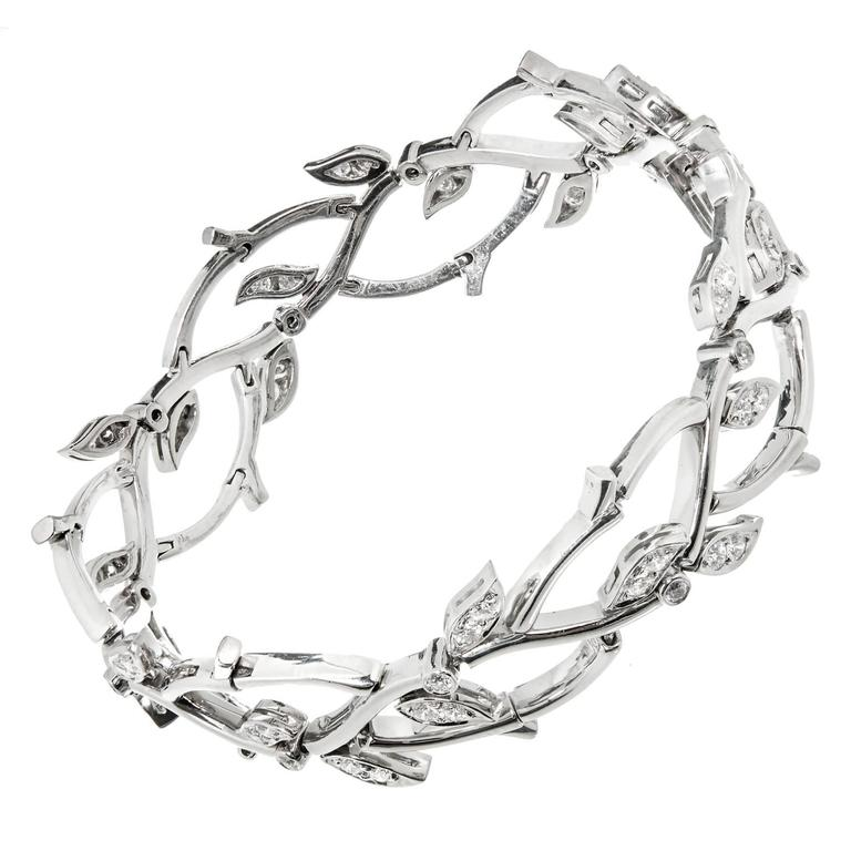 b6f738e37 1990s Tiffany and Co. Diamond Platinum Garland Bracelet For Sale at ...