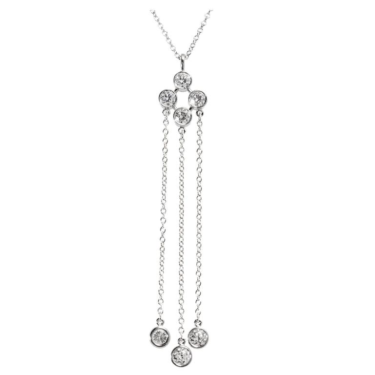 Tiffany & Co. Triple Dangle Diamond Platinum Necklace
