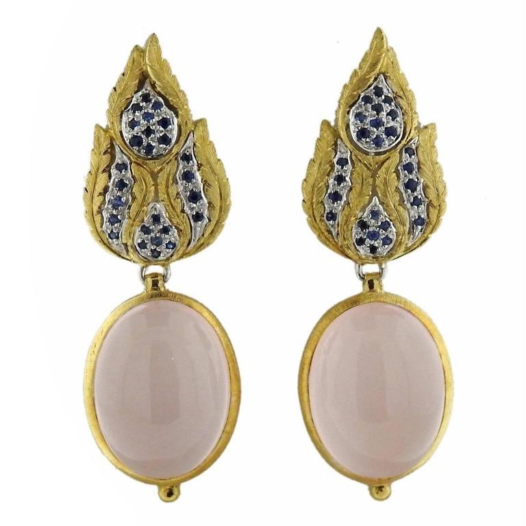 Buccellati Rose Quartz Sapphire Drop Two Color Gold Earrings For Sale