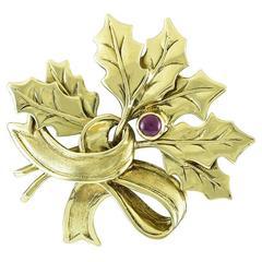 Tiffany & Co. Gold Christmas Holly Pin