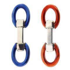 Jona Blue and Red Enamel Sterling Silver Double Ring Folding Cufflinks