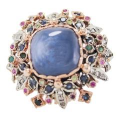 Luise Multi Gem Diamond Silver Gold Cluster Ring
