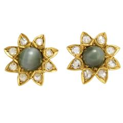 Victorian Cat's Eye Diamond Flower Gold Stud Earrings