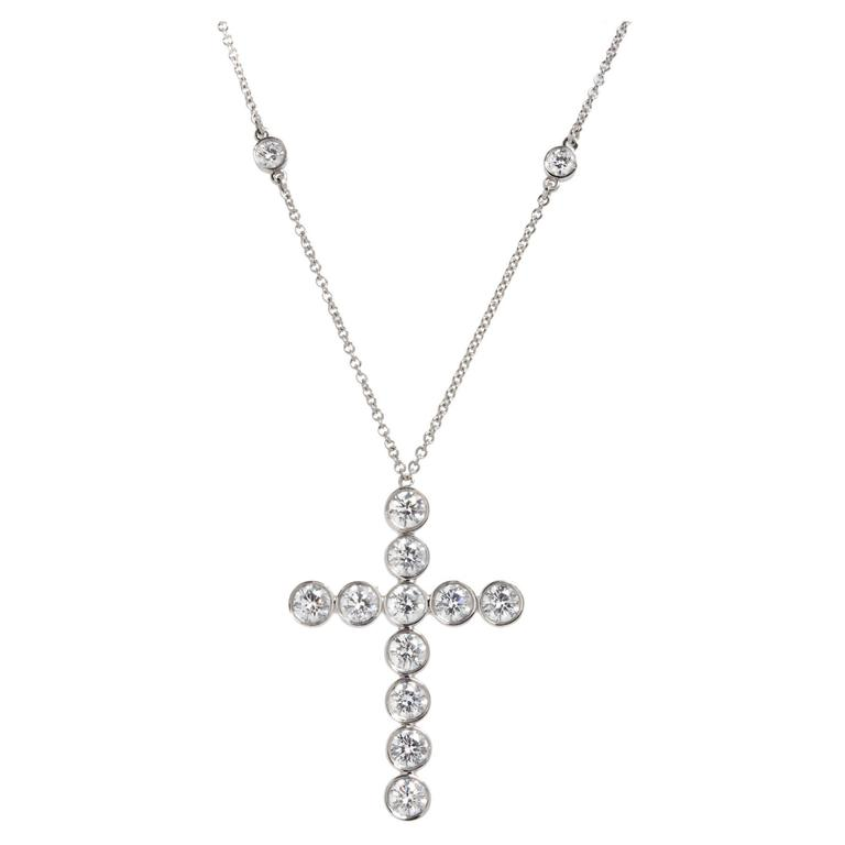 e0b8a60612798 Tiffany & Co. Diamond Platinum Jazz Cross Pendant Necklace