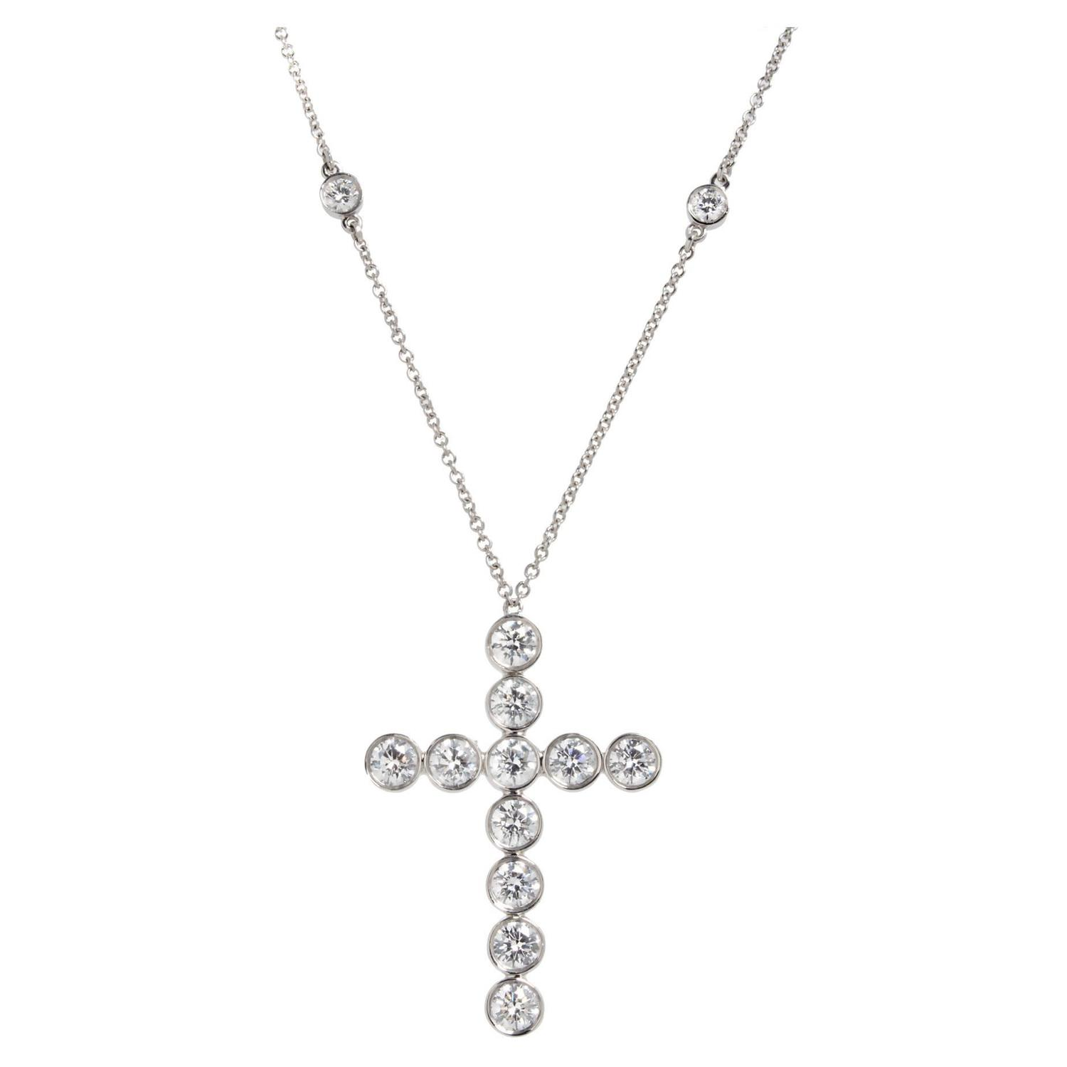 Tiffany and Co Diamond Platinum Jazz Cross Pendant Necklace For