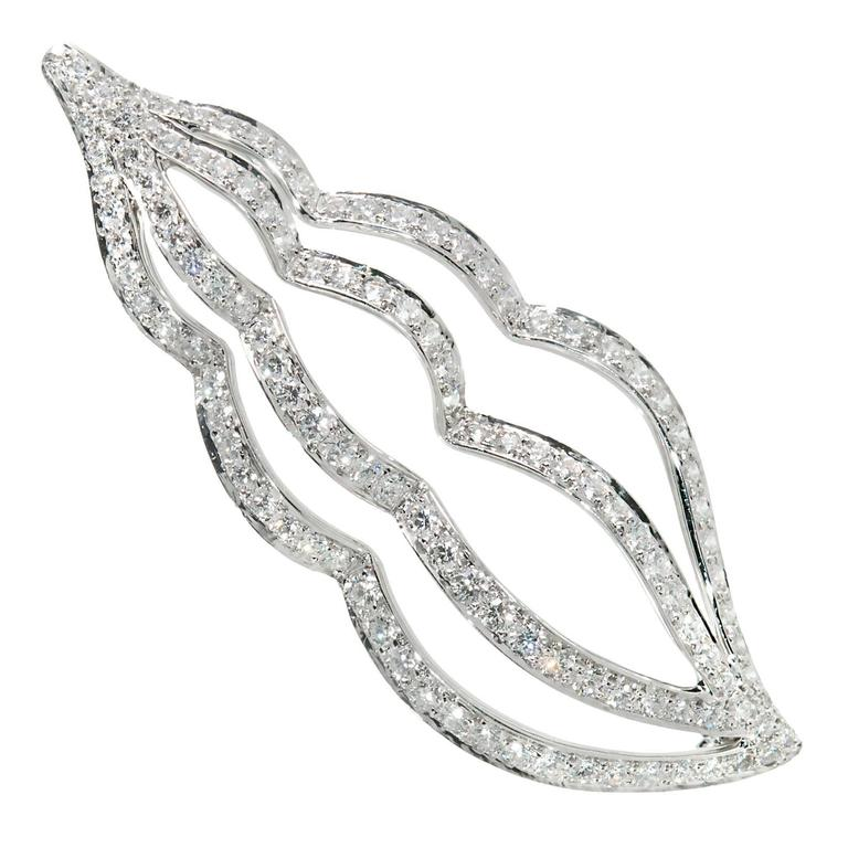Tiffany & Co. Diamond Platinum Sea Whelk Shell Pin