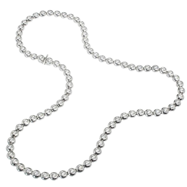 Tiffany & Co. Diamond Platinum Bezel Set Tennis Necklace