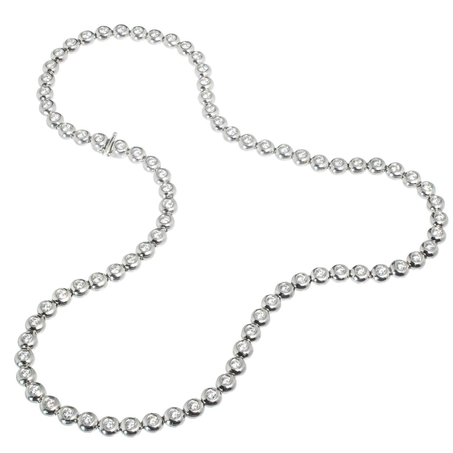 gold tennis beautiful white itm long necklace diamond
