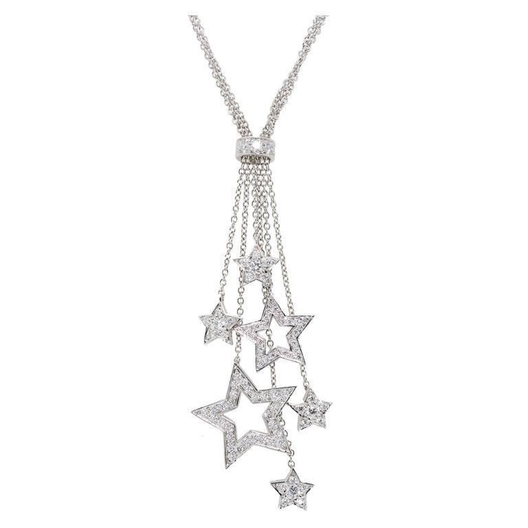 Tiffany & Co .80 Carat Diamond Platinum Multi Star Pendant Necklace For Sale