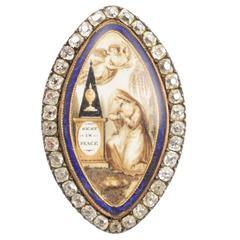 Georgian Diamond Gold Navette Memorial Brooch