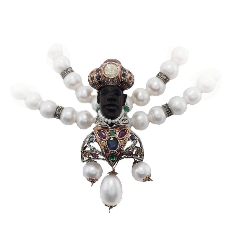Venetian Moretti Beaded Necklace Gold and Silver Pendant