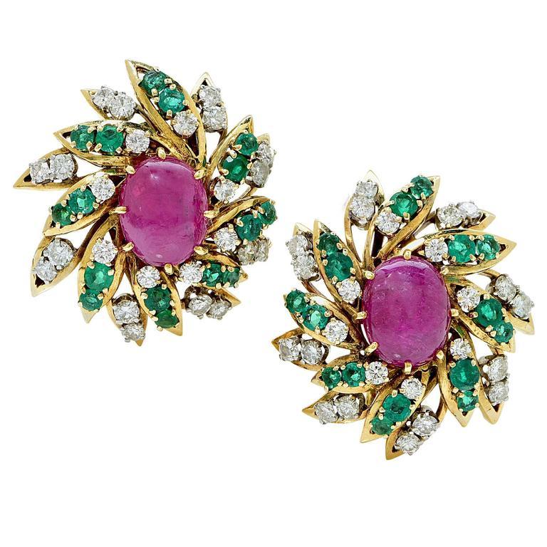 David Webb Ruby Emerald Diamond Gold Earrings