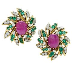 David Webb Ruby Emerald Diamond Gold Earrings