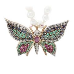 Luise Multi Gem Pearl Diamond Gold Butterfly Necklace Pendant