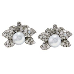 Ct 44 Australian Pearl and Ct 13 Diamonds Rose Gold and Silver Leaf Earrings