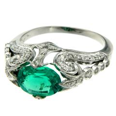 Synthetic Emerald Diamond Gold Ring
