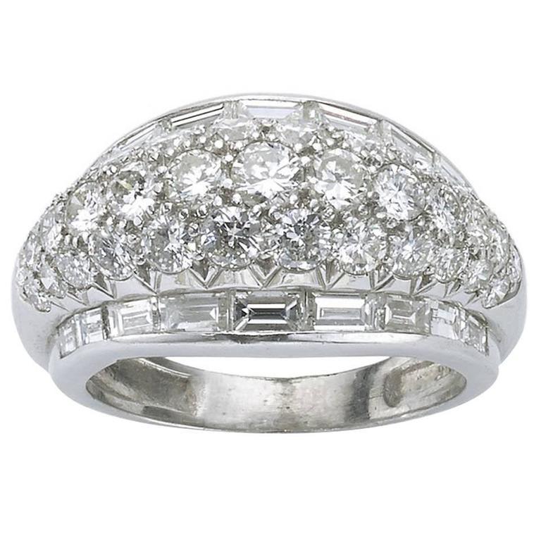1940s Diamond Platinum Bombé Band Ring