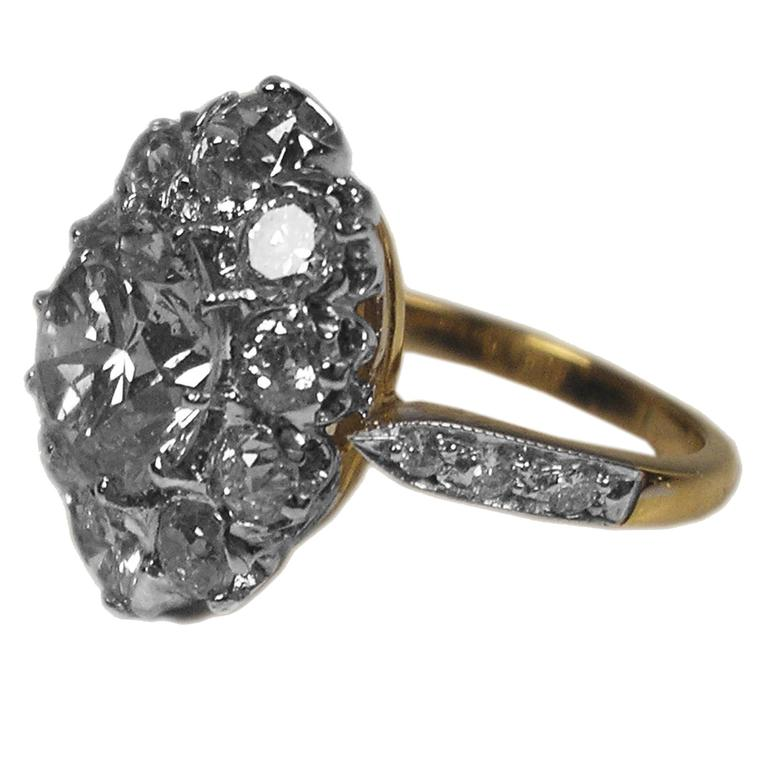 Art Deco Vienna Gold 585 Diamonds Solitaire Cluster Gold Engagement Ring For Sale