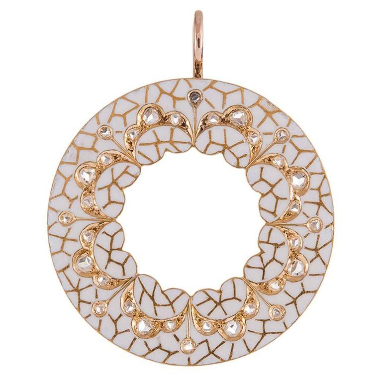 White Enamel Old Mine Cut Diamond Gold Circle Pendant For Sale