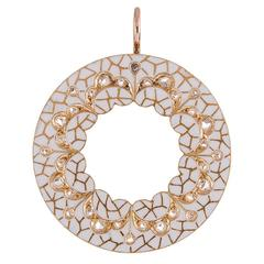 White Enamel Old Mine Cut Diamond Gold Circle Pendant