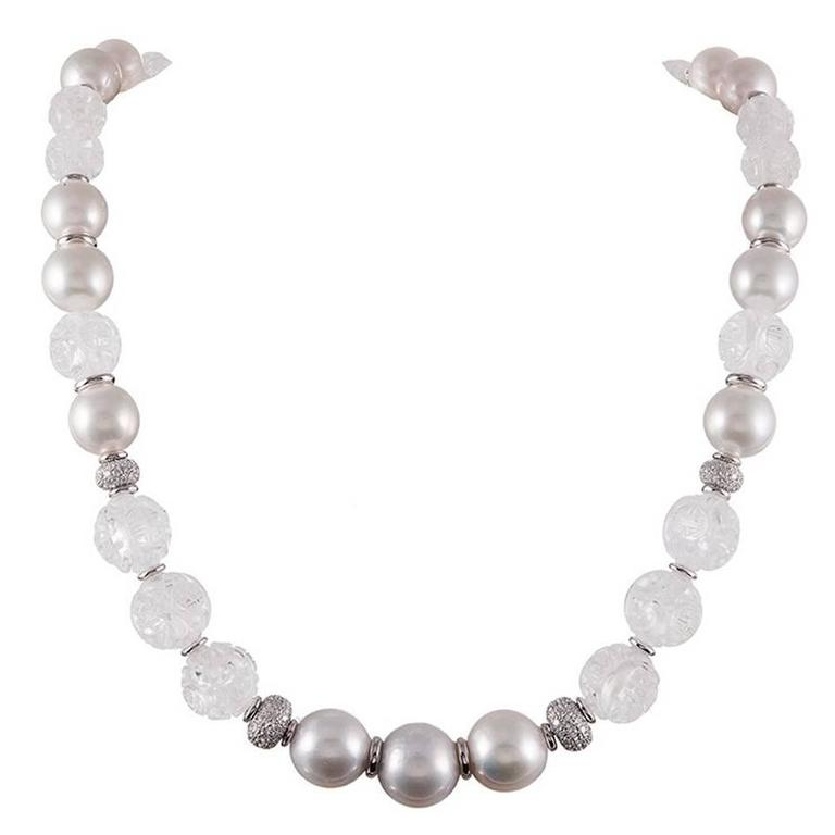 """Seaman Schepps Carved Crystal Pearl Diamonds Gold """"Canton"""" Necklace"""