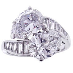 Cartier GIA Cert Near Flawless Colorless Twin Pear Shape Diamond Platinum Ring