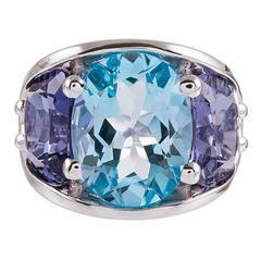 Seaman Schepps 485 Park Avenue Collection Blue Topaz Iolite Gold Ring