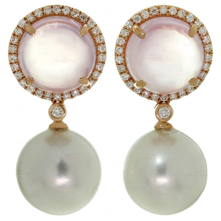 Pink Quartz Pearl Diamond Rose Gold Drop Earrings