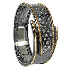 Diamond Embedded Oxidized Silver Gold Hinged Cuff Cyclone Bracelet
