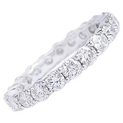 2.31 Carats Diamonds and White Gold Eternity Band Ring