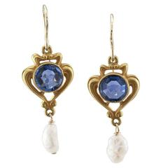 Krementz Art Nouveau Sapphire Pearl Drop Earrings