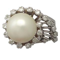1960s South Sea Pearl and Diamond Platinum Cocktail Ring