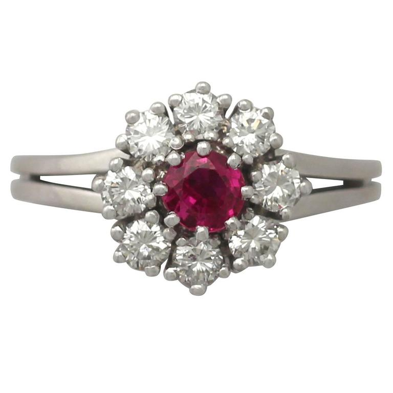 2000s 0.50 Carat Ruby and 0.80 Carat Diamond, White Gold Cluster Ring