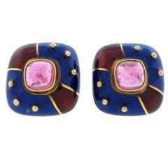 Festive Enamel Tourmaline Gold Earrings