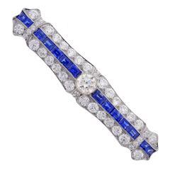 1920s J. E. Caldwell Art Deco Sapphire Diamond Platinum Bar Pin Brooch