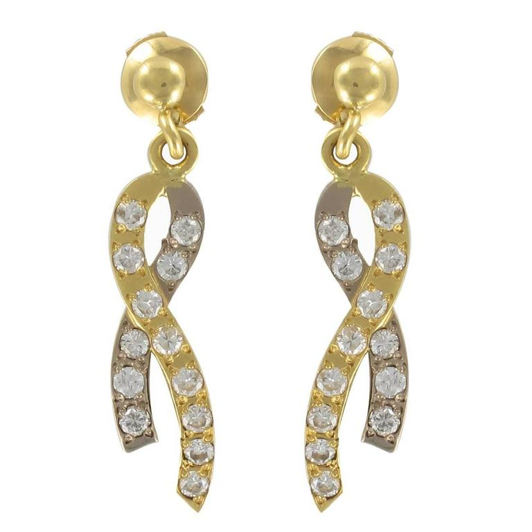Modern Two Gold Ribbon and Diamond Earrings