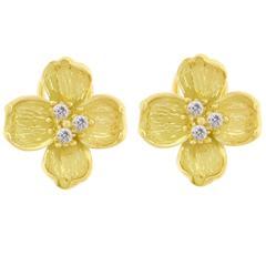 Tiffany & Co.  Diamond Gold Dogwood Motif Earrings