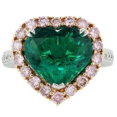 3.70 Carat AGL Colombian Emerald Pink Diamond Two-Color Gold Ring