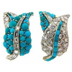 1950s Turquoise Diamond Platinum Earrings