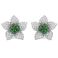 Emerald Diamond Gold Pave Flower Earrings