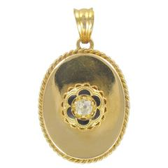 French 19th century Diamond and Black Enamel Pendant Necklace