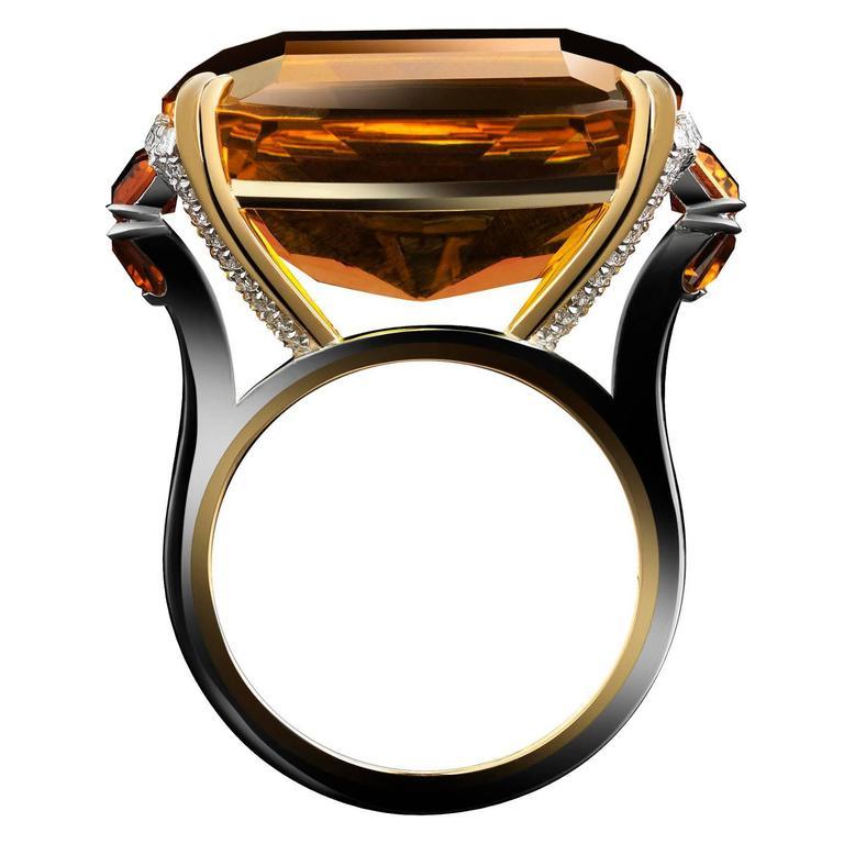 Alexandra Mor Cushion Cut Palmeira Citrine Diamond Gold Platinum Ring