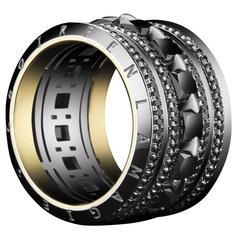 Alexandra Mor 4.45 Carats Princess Cut Black Diamonds Wide Eternity Band Ring
