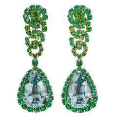 Verdura Aquamarine Emerald Tsavorite Cascade Collection Earrings