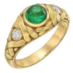 Alex Sepkus Emerald Diamond Gold Dress Ring