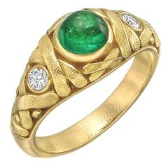 Alex Sepkus ​Emerald Diamond Gold Dress Ring